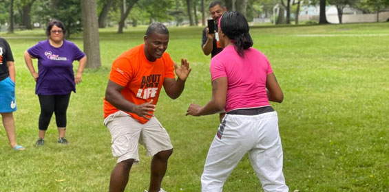 woman learning martial arts training