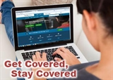 Get Covered, Stay Covered photo of a health insurance applicant using a laptop