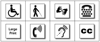 A group of ADA accessibility symbols.