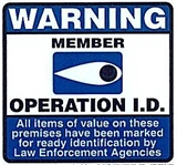A miniture version of the official Operation I.D. sign