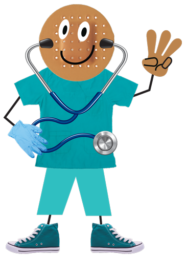 A digital illustration of a doctor holding up three fingers for lead-safe easy as 1-2-3