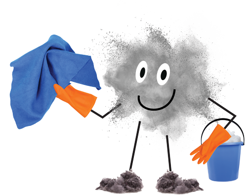 A digital illustration of a ball of dust personified and holding a bucket and cleaning rag.