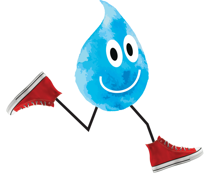 "A digital illustration of a drop of water, with legs and shoes ""running"""