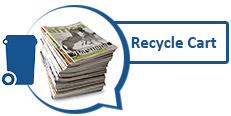 Image of stack of magazines and recycling cart graphic
