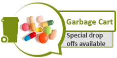 Image of various pills and graphic of garbage cart