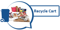 Image of various paper products and graphic of recycling cart
