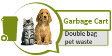 Image of kitten and puppy and graphic of garbage cart