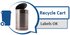 Image of a tin can and graphic of a recycling cart