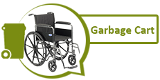 Image of a wheelchair and graphic of a garbage cart