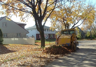picture of fall leaf collection with equipment