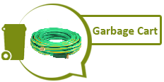 Image of garden hose and graphic of green garbage cart