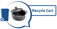 Image of metal pot and graphic of recycling cart