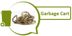 Image of a rope and graphic of green garbage cart