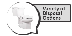 Image of a toilet with a note that a variety of disposal options are available