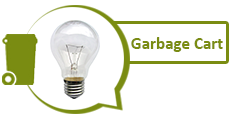 Photo of incandescent light bulb and garbage cart graphic