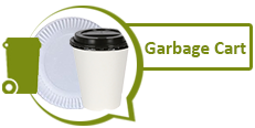 Image of a paper plate and paper coffee cup and graphic of garbage cart