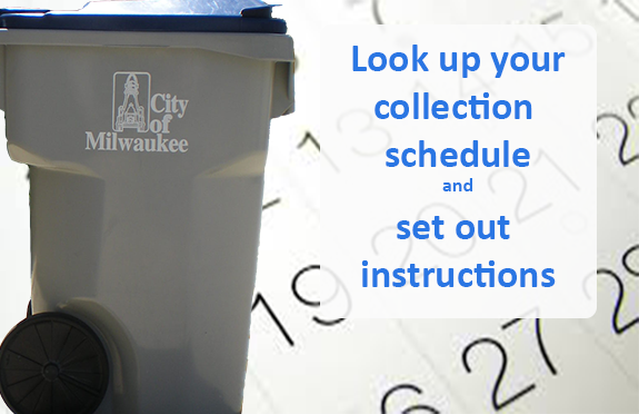Photo cart and calendar/ schedules for garbage and recylce pick up