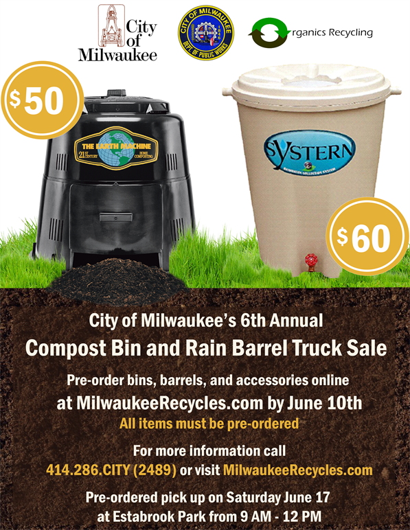 flyer for compost bin and rain barrel sale