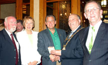 A picture of Ald. Bob Donovan joined by members of the Galway, Ireland delegation.