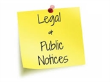 An image of a yellow post it note that reads legal and public notices
