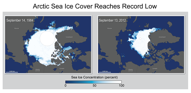 Arctic Sea Ice Cover Reaches Record Low