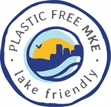 "Plastic-Free MKE ""Lake Friendly"" logo"